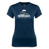 Ladies Syntrel Performance Navy Tee-Golden Eagles Baseball Seams