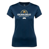 Ladies Syntrel Performance Navy Tee-Golden Eagles Volleyball Stacked