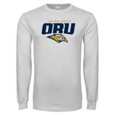 White Long Sleeve T Shirt-ORU Golden Eagles Mark