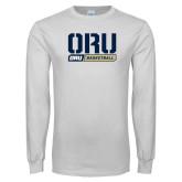 White Long Sleeve T Shirt-ORU Basketball Design