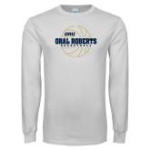 White Long Sleeve T Shirt-Basketball Outline Design
