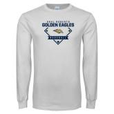 White Long Sleeve T Shirt-Baseball Plate Design