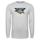 White Long Sleeve T Shirt-Oral Roberts w/ Eagle Head Stacked