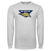 White Long Sleeve T Shirt-ORU Athletics w/ Eagle Head Stacked