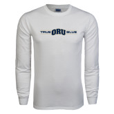 White Long Sleeve T Shirt-True ORU Blue