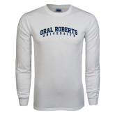 White Long Sleeve T Shirt-Arched Oral Roberts University
