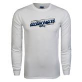 White Long Sleeve T Shirt-Golden Eagles Slanted w/ Logo