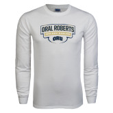 White Long Sleeve T Shirt-Oral Roberts Golden Eagles Arched Shield