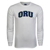 White Long Sleeve T Shirt-ORU Distressed