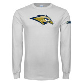White Long Sleeve T Shirt-Golden Eagle Mascot
