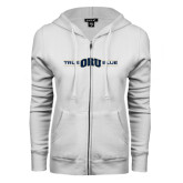 ENZA Ladies White Fleece Full Zip Hoodie-True ORU Blue