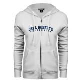 ENZA Ladies White Fleece Full Zip Hoodie-Arched Oral Roberts University