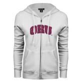 ENZA Ladies White Fleece Full Zip Hoodie-ORU Pink Glitter