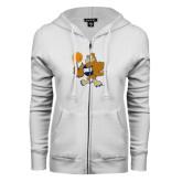 ENZA Ladies White Fleece Full Zip Hoodie-Basketball Eli
