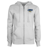 ENZA Ladies White Fleece Full Zip Hoodie-ORU w Mascot