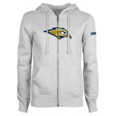 ENZA Ladies White Fleece Full Zip Hoodie-Golden Eagle Mascot