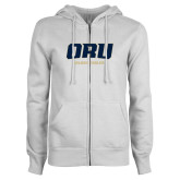 ENZA Ladies White Fleece Full Zip Hoodie-ORU Golden Eagles