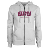 ENZA Ladies White Fleece Full Zip Hoodie-ORU Golden Eagles Pink Glitter