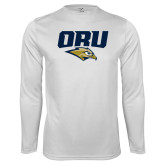 Performance White Longsleeve Shirt-ORU w Mascot
