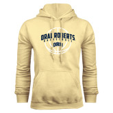 Champion Vegas Gold Fleece Hoodie-Oral Roberts Basketball Arched w/ Ball
