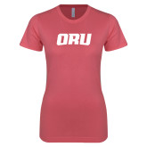 Next Level Ladies SoftStyle Junior Fitted Pink Tee-ORU