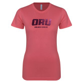 Next Level Ladies SoftStyle Junior Fitted Pink Tee-ORU Golden Eagles  Foil