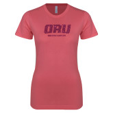 Next Level Ladies SoftStyle Junior Fitted Pink Tee-ORU Golden Eagles Hot Pink Glitter