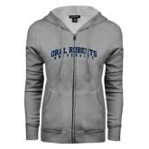 ENZA Ladies Grey Fleece Full Zip Hoodie-Arched Oral Roberts University