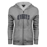 ENZA Ladies Grey Fleece Full Zip Hoodie-ORU Graphite Glitter