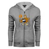 ENZA Ladies Grey Fleece Full Zip Hoodie-Basketball Eli