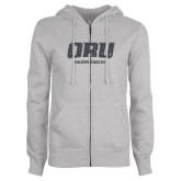 ENZA Ladies Grey Fleece Full Zip Hoodie-ORU Golden Eagles Graphite Soft Glitter