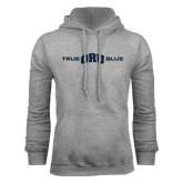 Grey Fleece Hoodie-True ORU Blue