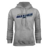 Grey Fleece Hoodie-Golden Eagles Slanted w/ Logo