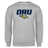 Grey Fleece Crew-ORU w Mascot