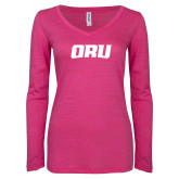 ENZA Ladies Hot Pink Long Sleeve V Neck Tee-ORU