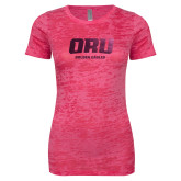 Next Level Ladies Junior Fit Fuchsia Burnout Tee-ORU Golden Eagles  Foil