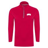 Ladies Pink Raspberry Sport Wick Textured 1/4 Zip Pullover-ORU