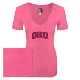 Next Level Ladies Vintage Pink Tri Blend V-Neck Tee-ORU Hot Pink Glitter