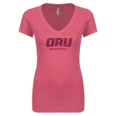 Next Level Ladies Vintage Pink Tri Blend V Neck Tee-ORU Golden Eagles Hot Pink Glitter