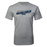 Grey T Shirt-Golden Eagles Slanted w/ Logo