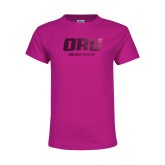 Youth Cyber Pink T Shirt-ORU Golden Eagles  Foil