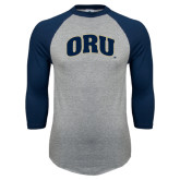 Grey/Navy Raglan Baseball T Shirt-ORU