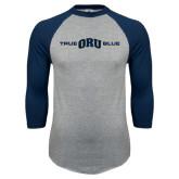 Grey/Navy Raglan Baseball T Shirt-True ORU Blue