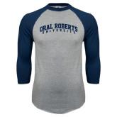 Grey/Navy Raglan Baseball T Shirt-Arched Oral Roberts University