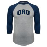 Grey/Navy Raglan Baseball T Shirt-ORU Distressed