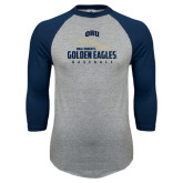 Grey/Navy Raglan Baseball T Shirt-Golden Eagles Baseball Seams