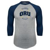 Grey/Navy Raglan Baseball T Shirt-ORU Baseball Seams