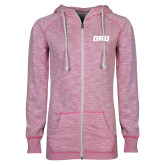 ENZA Ladies Hot Pink Marled Full Zip Hoodie-ORU
