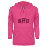 ENZA Ladies Hot Pink V Notch Raw Edge Fleece Hoodie-ORU Hot Pink Glitter