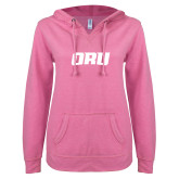 ENZA Ladies Hot Pink V Notch Raw Edge Fleece Hoodie-ORU
